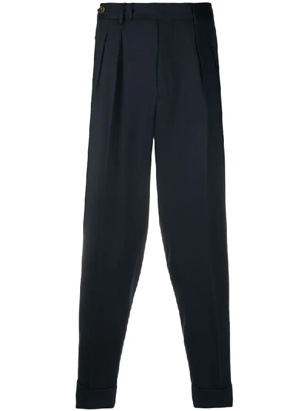 Pt01 Virgin Wool Cropped Tapered Trousers In Blue