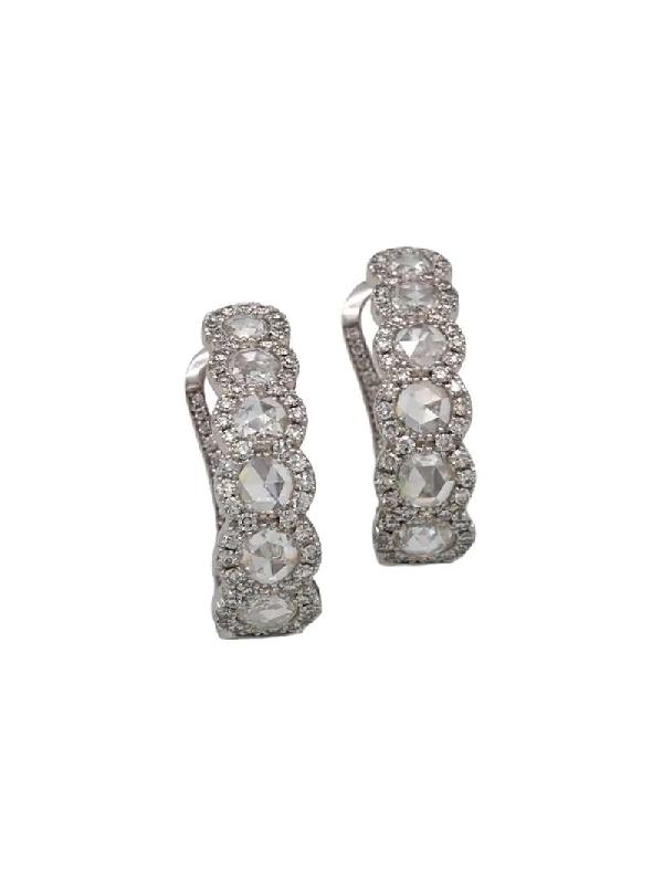 David Morris 18kt White Gold Diamond Earrings In Silver