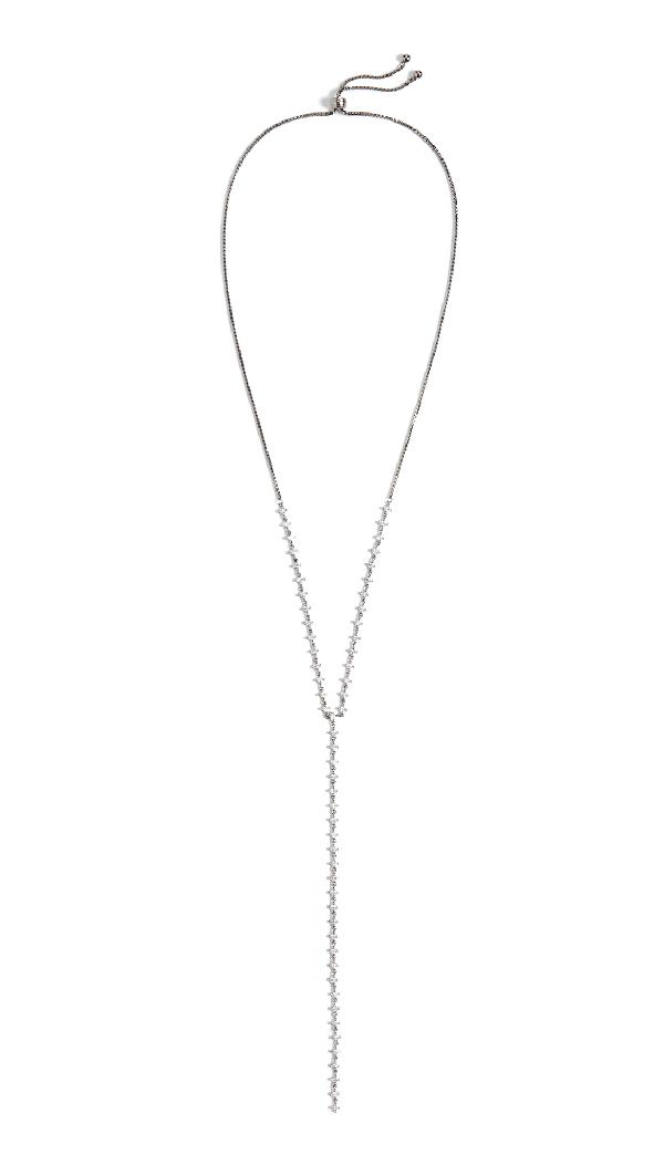 Theia Jewelry Harper Y Necklace In Gunmetal