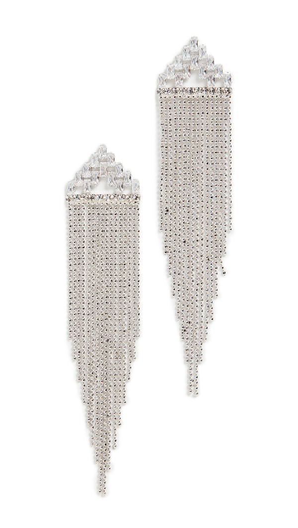 Theia Jewelry Amata Art Deco Tassel Drop Earrings In White Gold