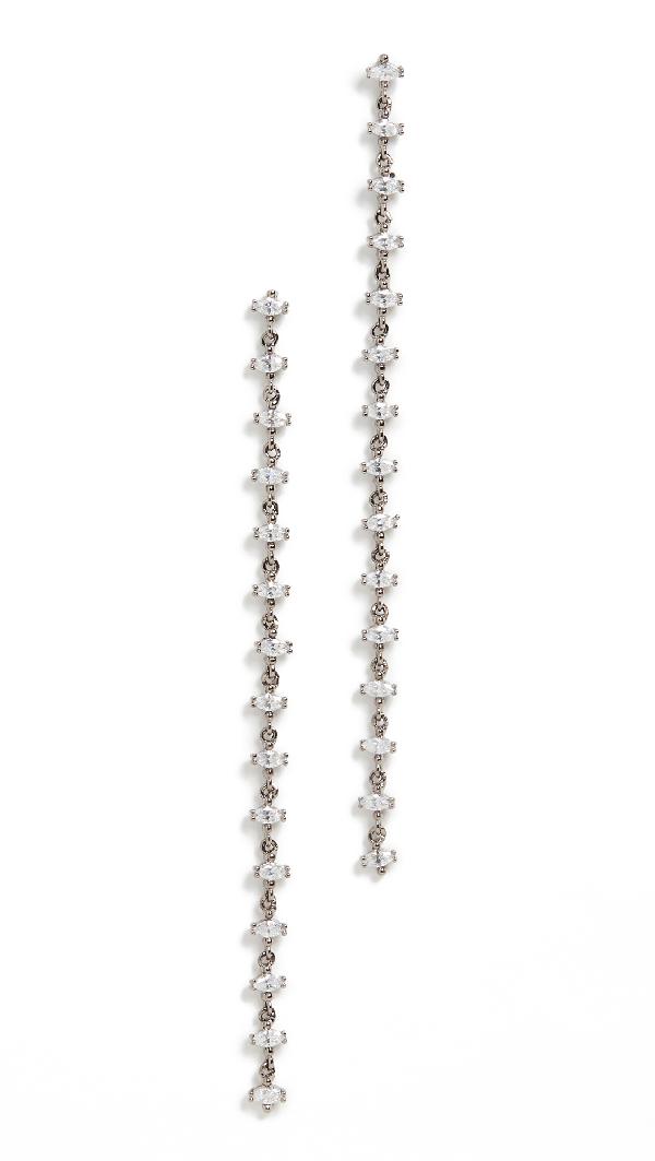 Theia Jewelry Harper Linear Drop Earrings In Gunmetal Finish