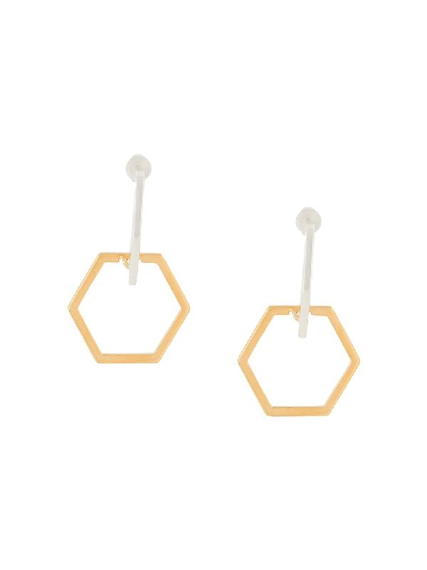 Rachel Jackson Infinity Hexagon Hoops In Gold