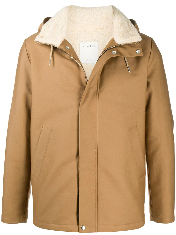 Sandro Hooded Zip-up Jacket In Brown