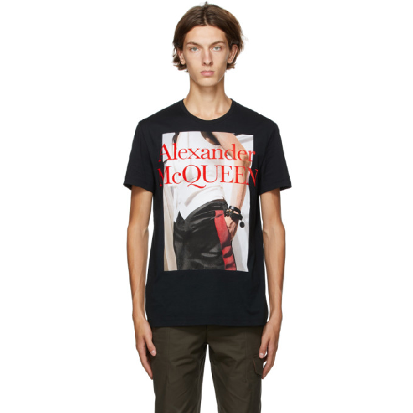 Alexander Mcqueen Black Cotton T-shirt With Front Print In 0901 Blkmix