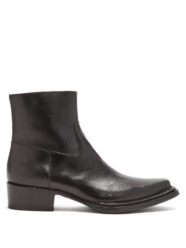 Acne Studios Point-toe Leather Chelsea Boots In Black