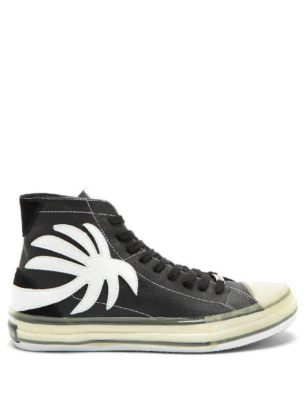 Palm Angels Men's Shoes High Top Leather Trainers Sneakers Vulcanized In Black
