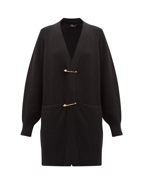 Versace Safety Pin Ribbed-knit Wool Cardigan In Black