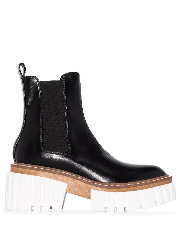 Stella Mccartney Emilie Vegetarian Leather Platform Chelsea Boots In Black