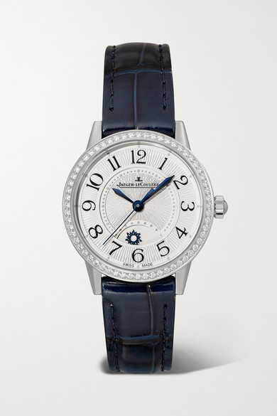 Jaeger-lecoultre Rendez-vous Night & Day 29mm Small Stainless Steel, Alligator And Diamond Watch In Silver