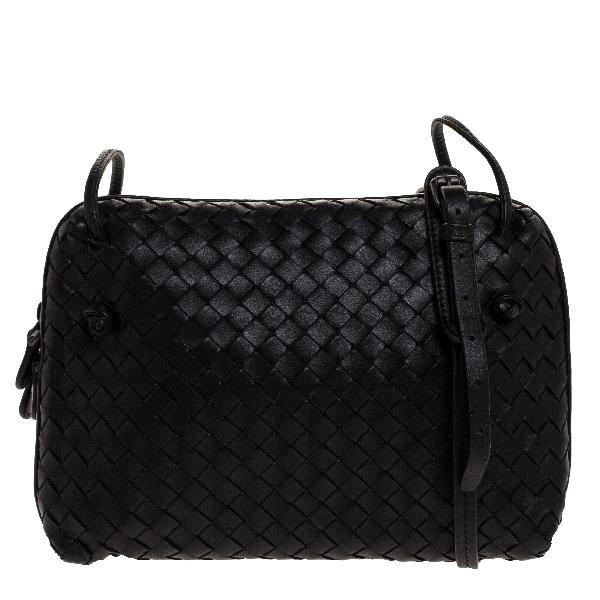 Bottega Veneta Black Intrecciato Leather Double Zip Nodini Crossbody Bag
