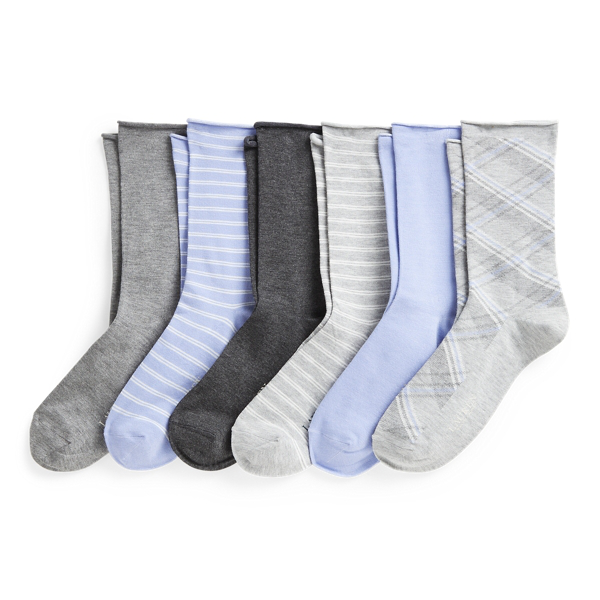 Lauren Ralph Lauren Multi Roll-top Sock 6-pack In Grey Assort