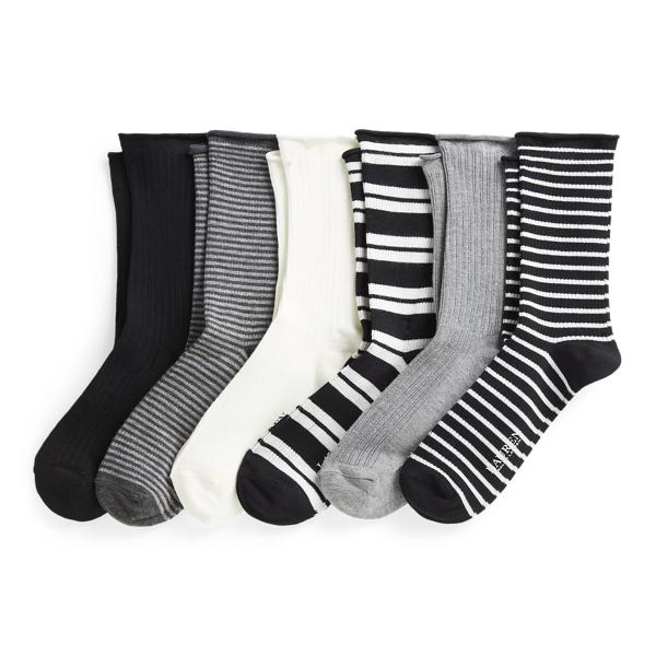 Lauren Ralph Lauren Stripe Roll-top Sock 6-pack In Black Assort