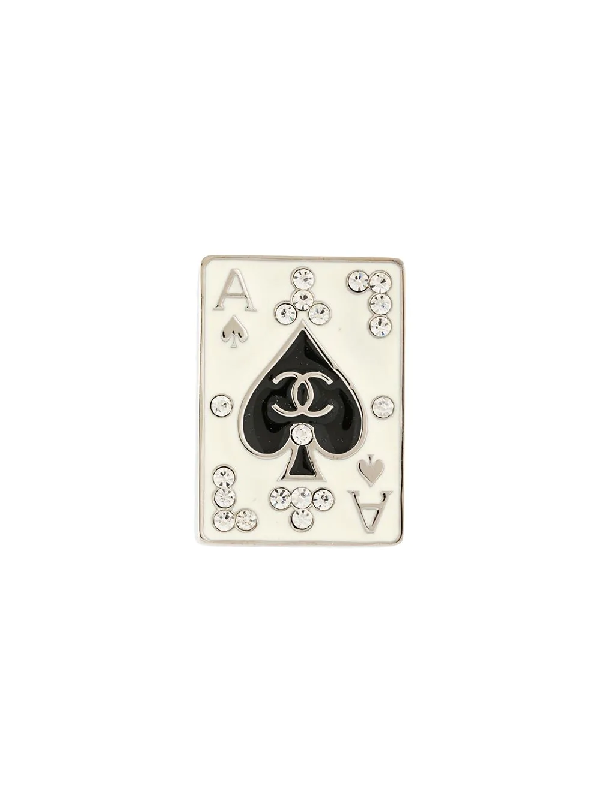 Chanel 2005 Spades Card Badge Type Brooch In Silver, Black Etc
