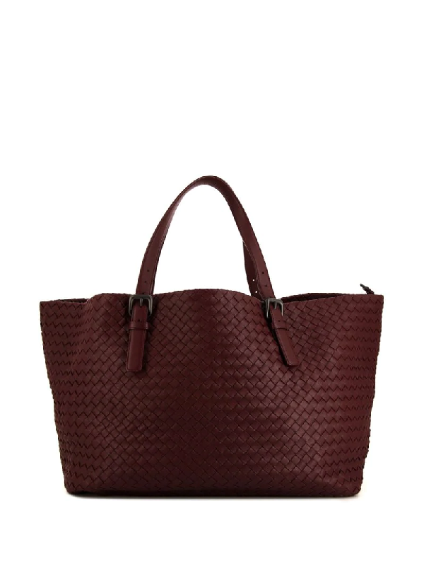 Bottega Veneta Intrecciato Tote Bag In Red