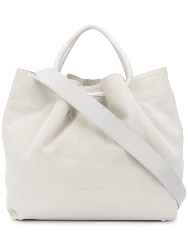 Fabiana Filippi Logo Debossed Tote Bag In White