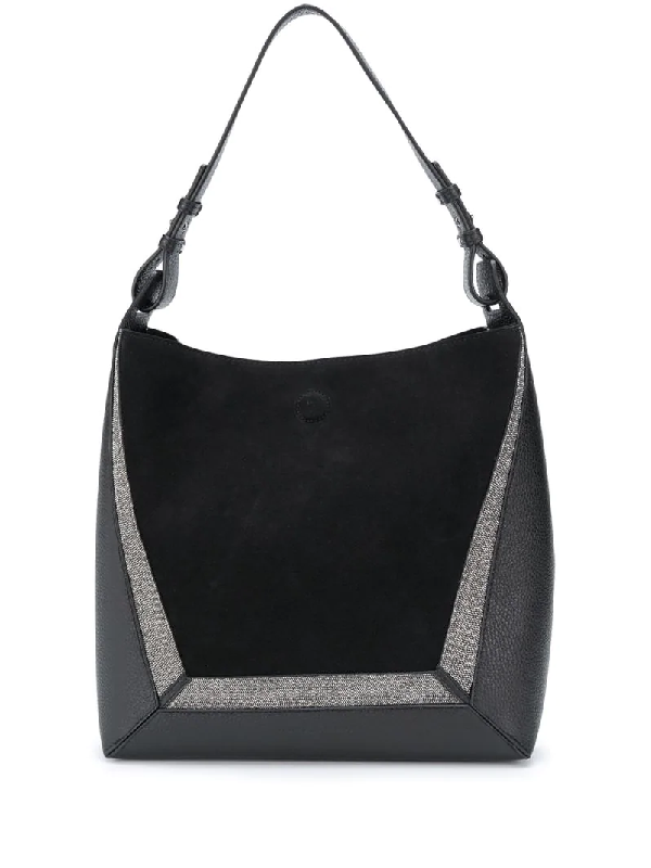 Fabiana Filippi Contrast-panel Shoulder Bag In Black