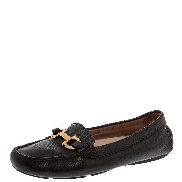 Salvatore Ferragamo Black Leather Gancini Bit Loafers Size 37.5
