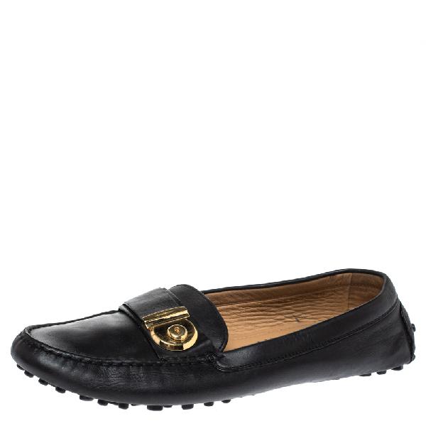 Salvatore Ferragamo Black Leather Gancio Lock Slip On Loafers Size 40.5