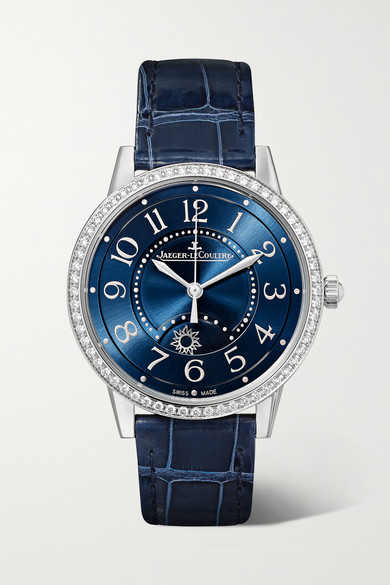 Jaeger-lecoultre Rendez-vous Night & Day 34mm Medium Automatic Stainless Steel, Alligator And Diamond Watch In Silver