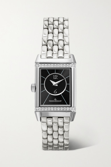 Jaeger-lecoultre Reverso Classic Duetto Small Hand-wound Stainless Steel And Diamond Watch In Silver