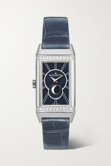 Jaeger-lecoultre Reverso One Duetto Moon 20mm Stainless Steel, Alligator And Diamond Watch In Silver