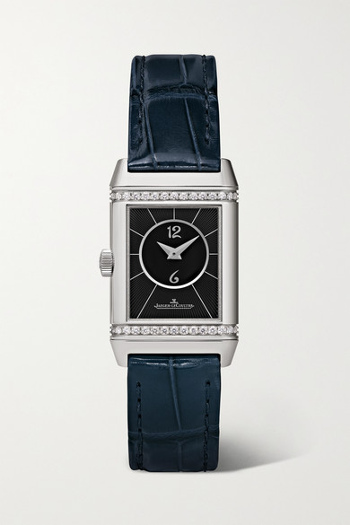 Jaeger-lecoultre Reverso Classic Duetto 21mm Small Stainless Steel, Alligator And Diamond Watch In Silver