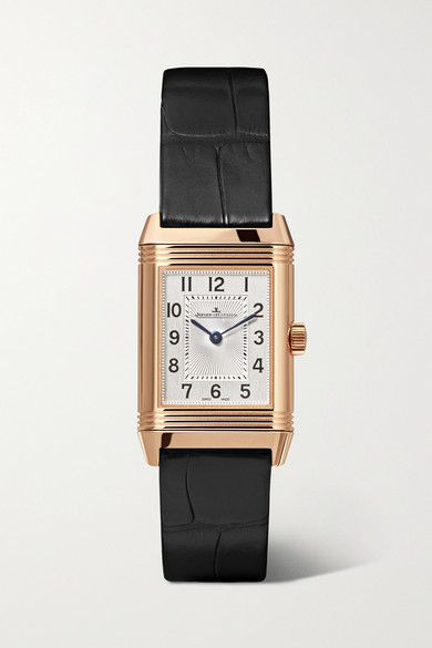 Jaeger-lecoultre Reverso Classic Duetto 21mm Small Rose Gold, Alligator And Diamond Watch