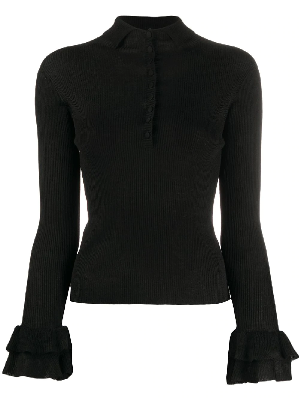 Philosophy Long-sleeved Ruffled Cuff Sweater In Black