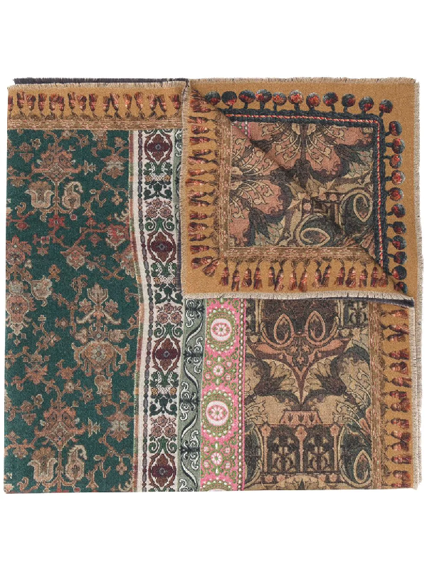 Pierre-louis Mascia Multi-print Wool Scarf In Green