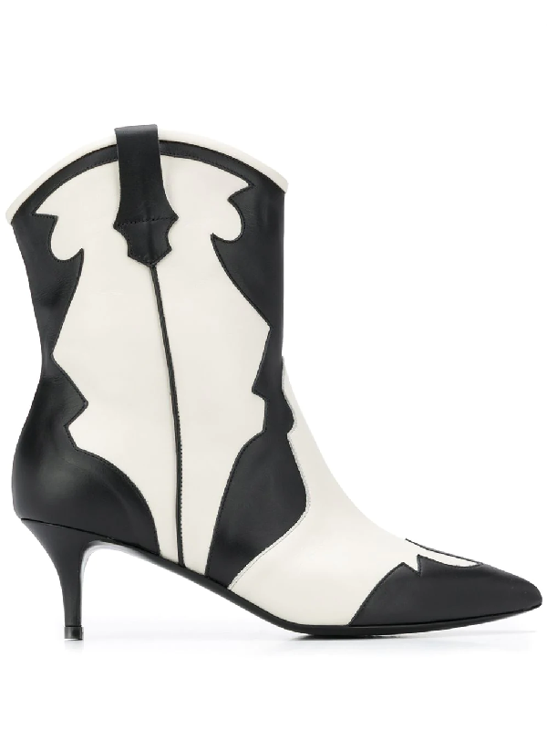 Pollini Pointed Western Boots In Black