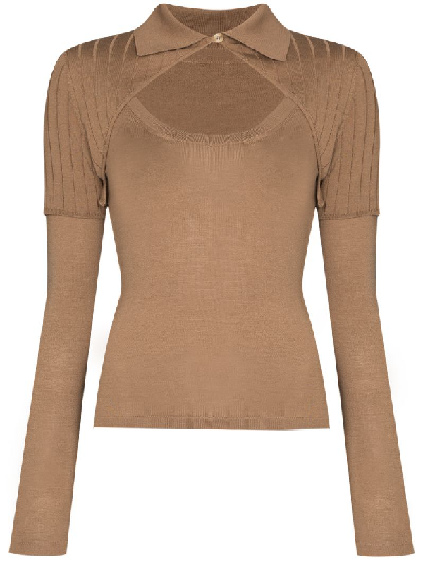 Jacquemus Knit Wool Blend Top W/ Cutout In Brown