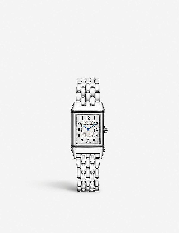 Jaeger-lecoultre Reverso One Duetto 20mm Stainless Steel Diamond Watch In Silver