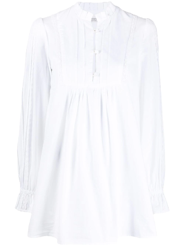 Philosophy Long-sleeved Pleated Bib Blouse In White