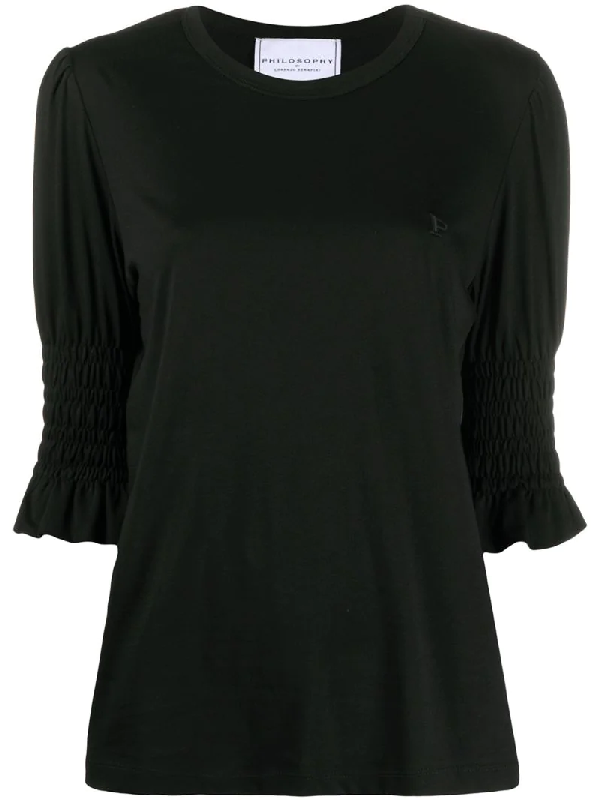 Philosophy Ruched Cuffs Jumper In Black