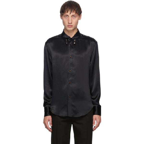 Keenkee Black Satin Button-down Shirt
