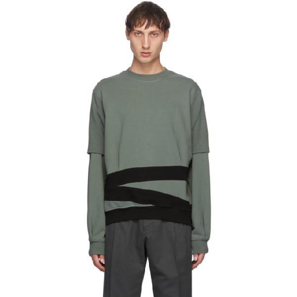 Keenkee Green And Black Sculpture Pt. 2 Sweatshirt In Khaki Green