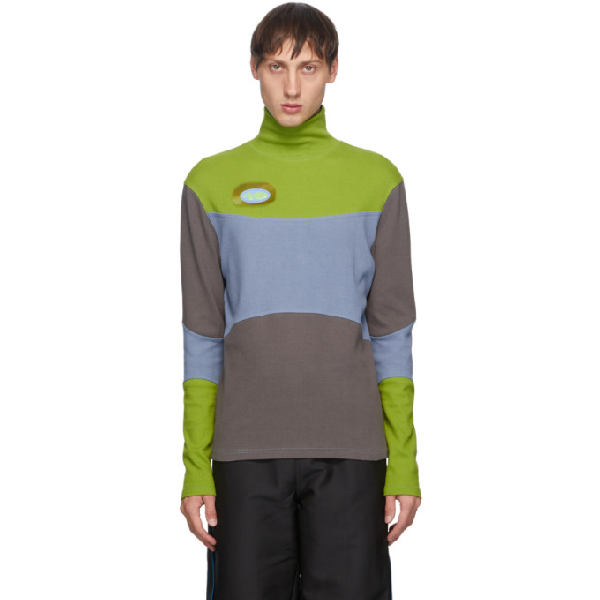 Keenkee Blue And Green Oval Cut Turtleneck In Green/multi
