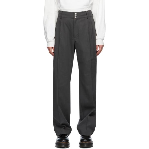 Keenkee Grey Wide Trousers In Steel Gray