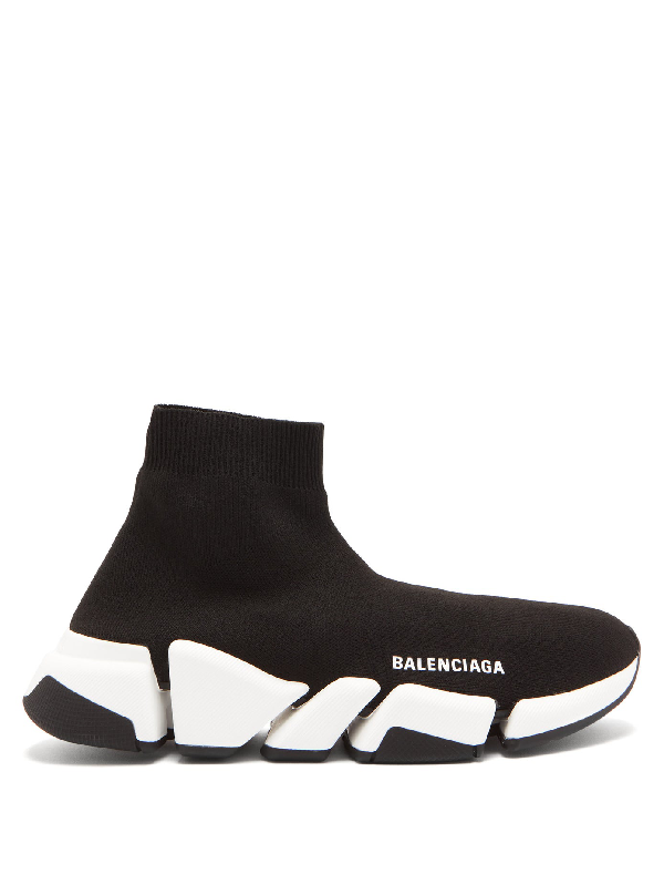 Balenciaga Speed 2.0 Stretch-knit High-top Sneakers In Black