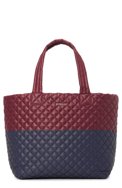 Mz Wallace Deluxe Large Metro Tote In Maroon/navy Colorblock