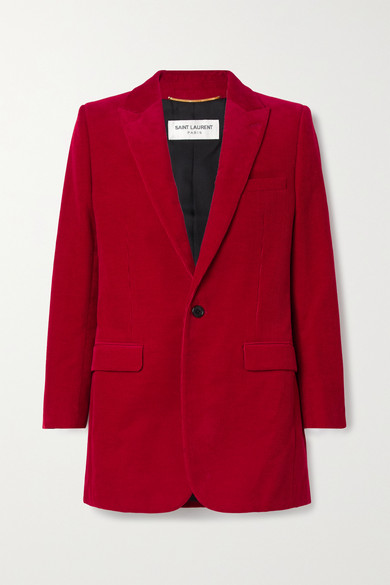 Saint Laurent Peak-lapel Cotton-corduroy Blazer In Red