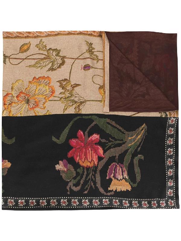 Pierre-louis Mascia Patchwork Floral-jacquard Scarf In Multicolour