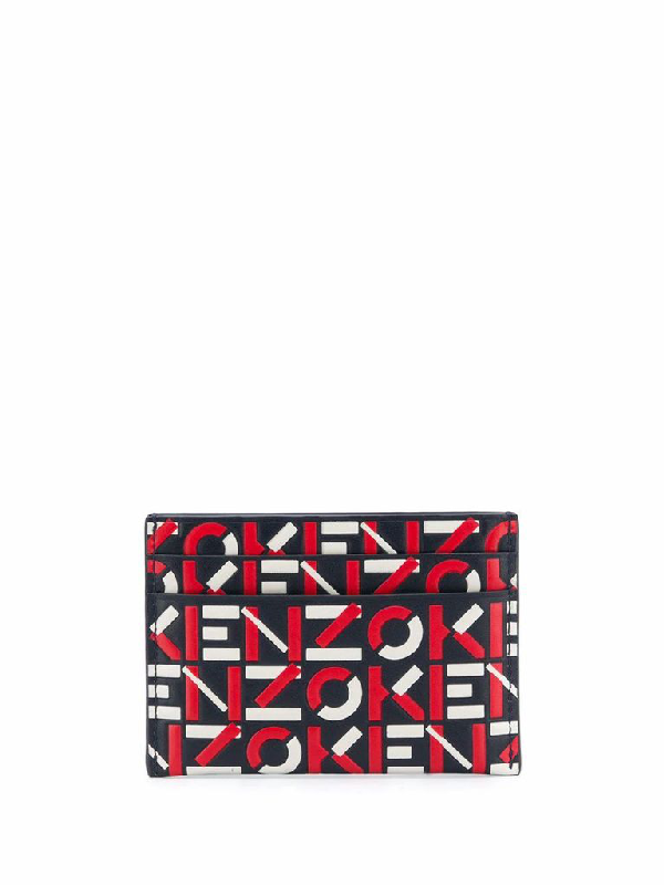 Kenzo Geometric Logo Lettering Leather Card Holder In Red