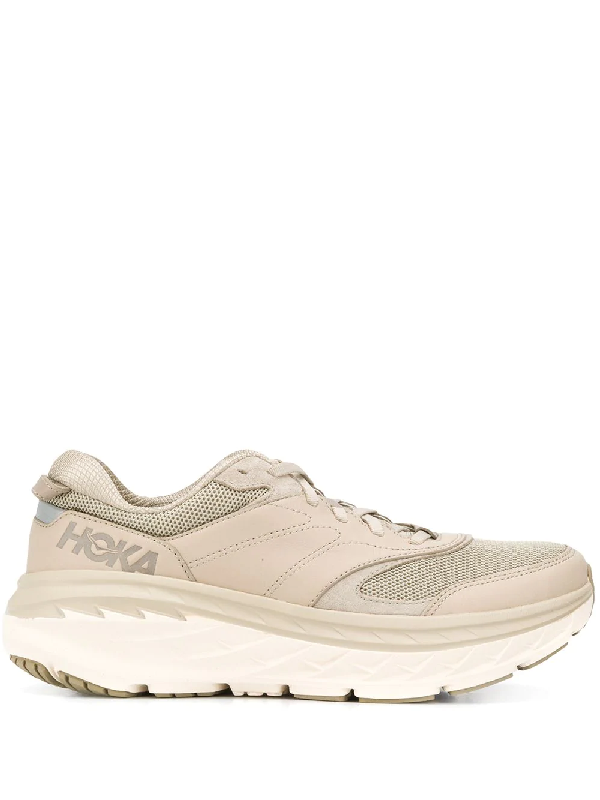 Hoka One One Chunky Heel Lace Up Trainers In Neutrals