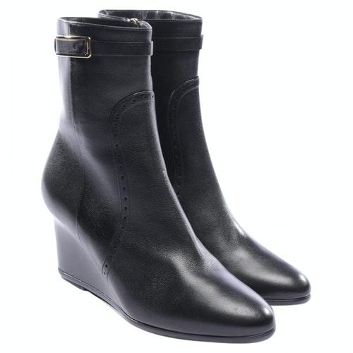 Salvatore Ferragamo Black Leather Ankle Boots