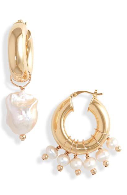 Eliou Enzo Mismatched Baroque Pearl Charm Hoops In Gold