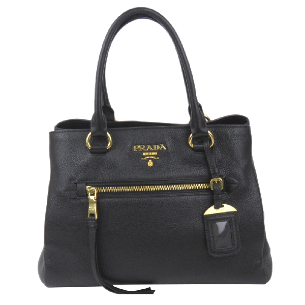 Prada Black Leather Vitello Daino Satchel Bag