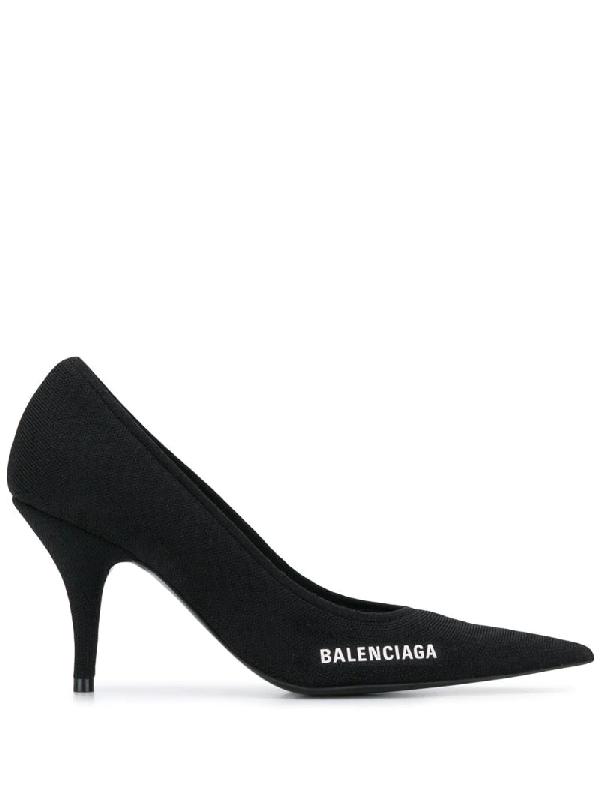 Balenciaga 黑色 Knife 针织高跟鞋 In Black