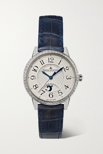 Jaeger-lecoultre Rendez-vous Moon Automatic 29mm Medium Stainless Steel, Alligator And Diamond Watch In Silver