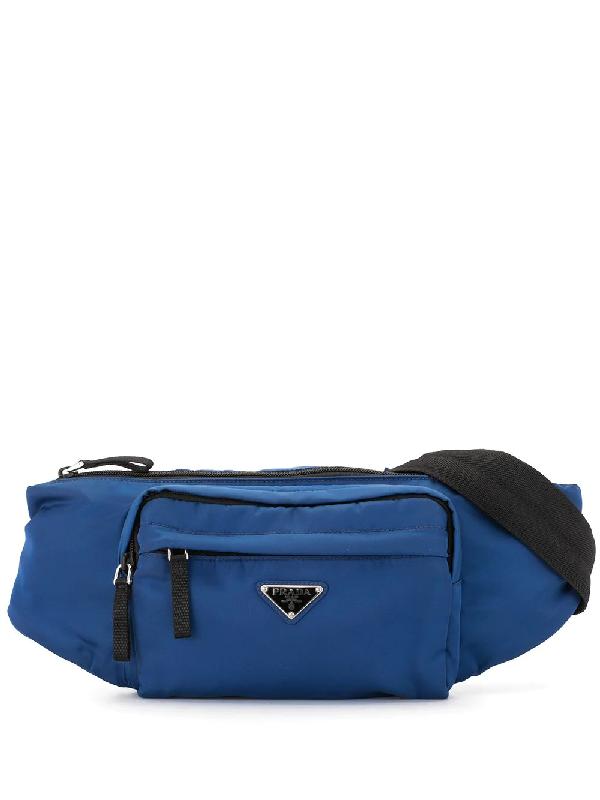 Prada Triangular Logo Plaque Belt Bag In Blue